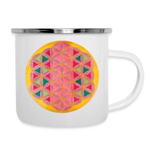 Blume des Lebens - Emaille-Tasse