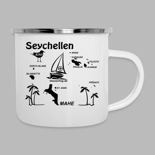 Seychellen Insel Crewshirt Mahe etc. - Emaille-Tasse