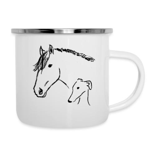 Windhund und Pferd - Emaille-Tasse