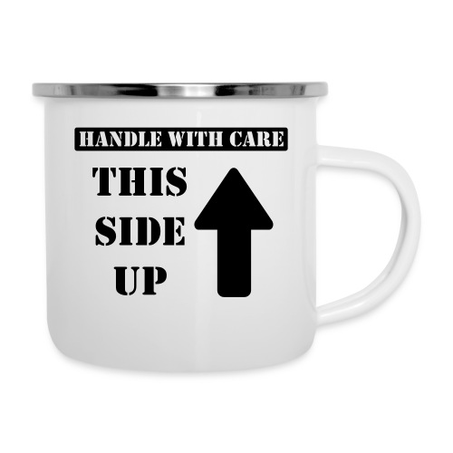 Handle with care / This side up - PrintShirt.at - Emaille-Tasse