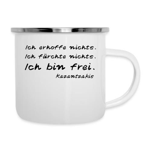 Kazantzakis - Ich bin frei! - Emaille-Tasse