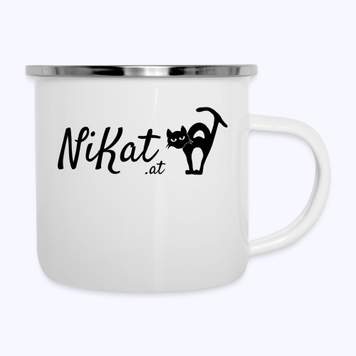 Nikat logo schwarz - Emaille-Tasse