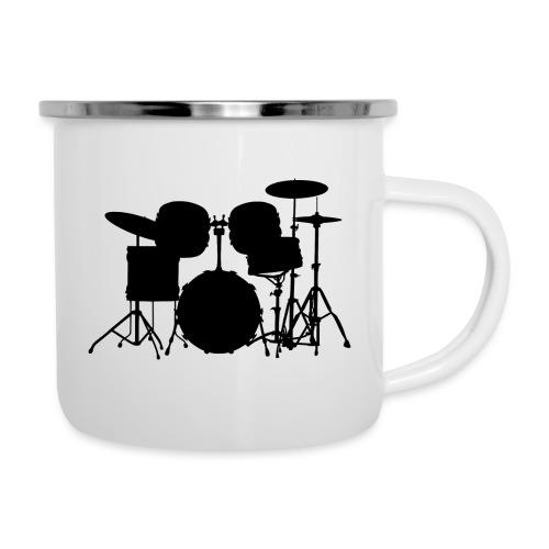 Drumset 1 Kontur schwarz - Emaille-Tasse