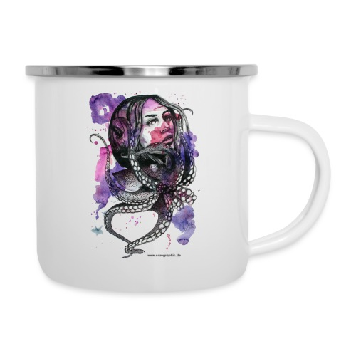 octopus oktopus portrait by carographic - Emaille-Tasse