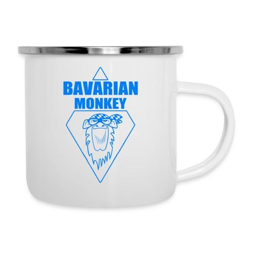Bavarian Monkey Label blau - Emaille-Tasse