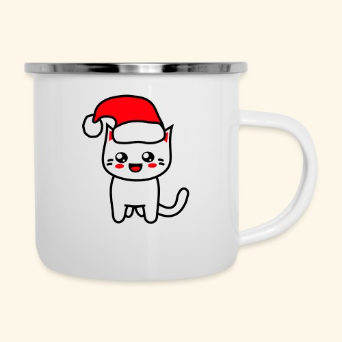 Kawaii Kitteh Christmashat - Emaille-Tasse