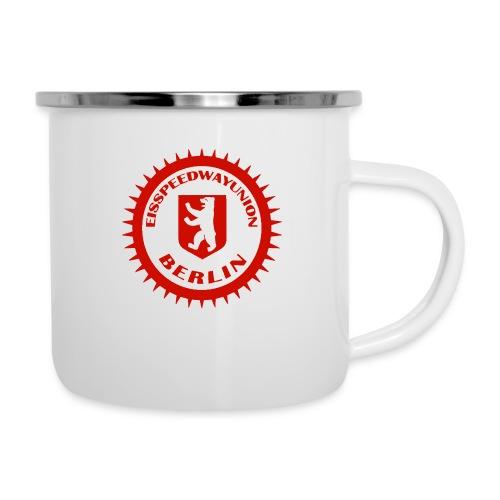 Logo in Rot Weiß - Emaille-Tasse