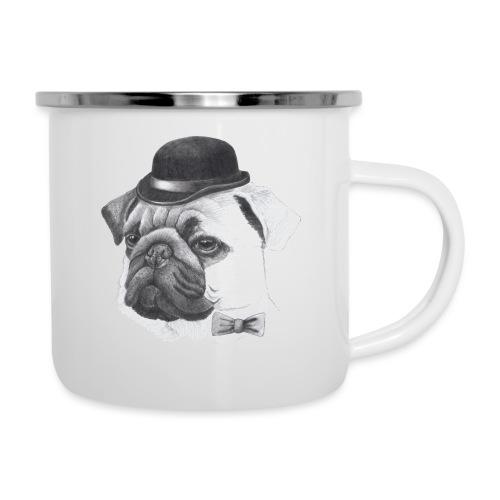 pug with bowler - Emaljekrus