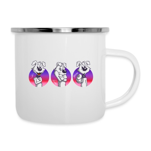 "Comic Hund in Gebärdensprache ""I love you"" - Emaille-Tasse"
