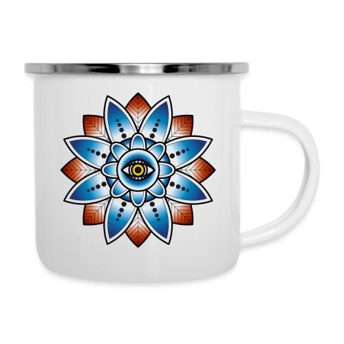 Psychedelisches Mandala mit Auge - Emaille-Tasse