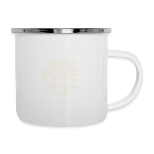 I am love and good vibes white gold - Emaille-Tasse