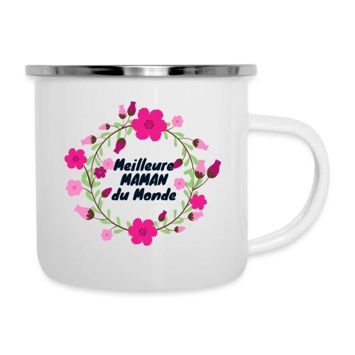 Meilleure maman du monde, fête des mères, fleurs - Tasse émaillée