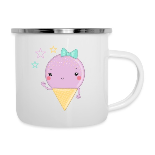 Kawaii Eis in Rosa und Mint - Emaille-Tasse