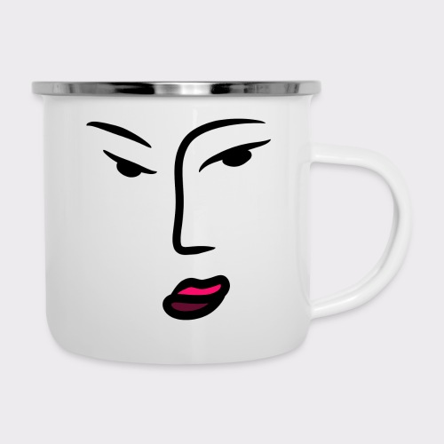 Frau Line Art Abstrakte Kunst - Emaille-Tasse