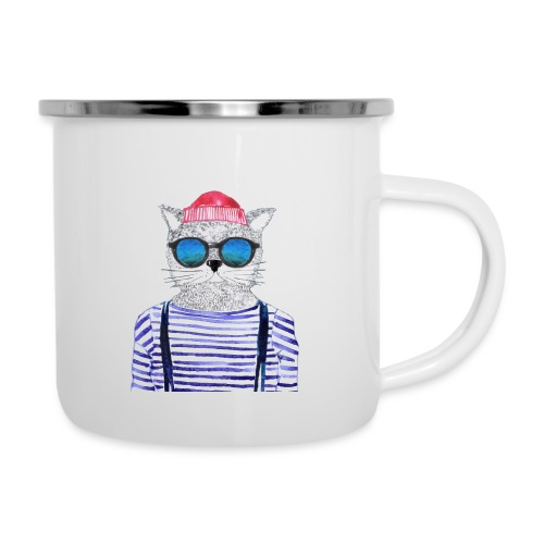 Berlin Hipster Cat - Emaille-Tasse