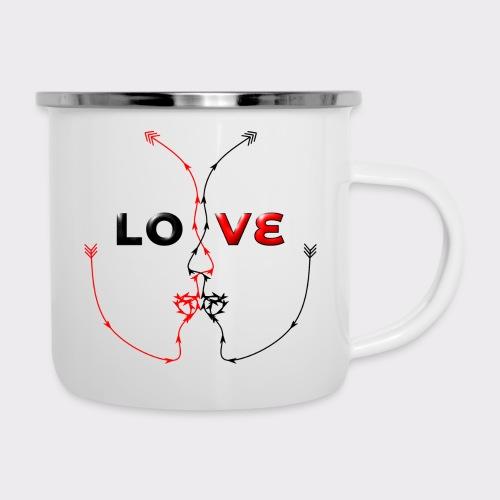 LOVE MINIMALISTIC LineART Valentinstaggeschenke - Emaille-Tasse