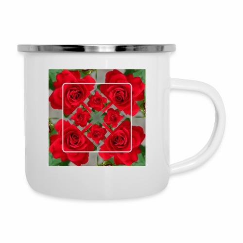 Rose Design - Emaille-Tasse