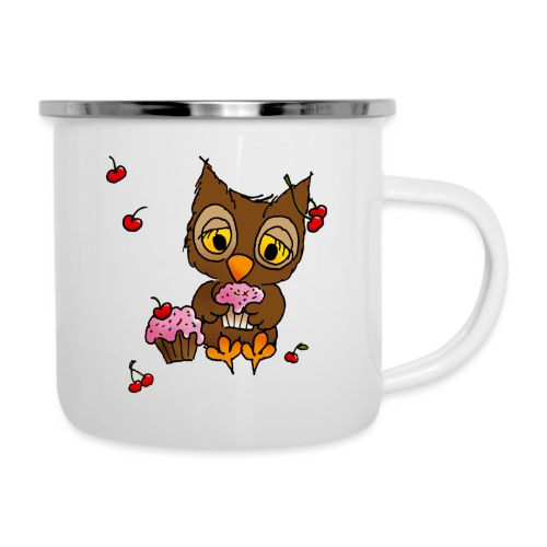 Eule mit Cupcakes - Emaille-Tasse