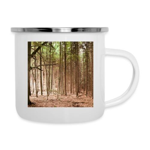Wald Bäume Herbst Natur Waldidylle Waldleben - Emaille-Tasse