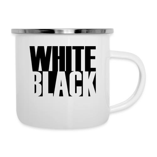 White, Black T-shirt - Emaille mok
