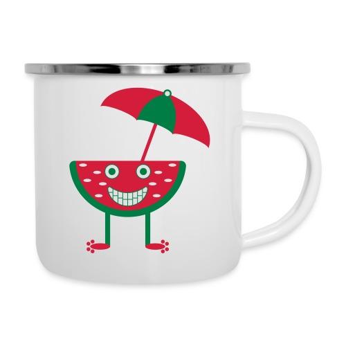 Melone mit Sonnenschirm - Emaille-Tasse