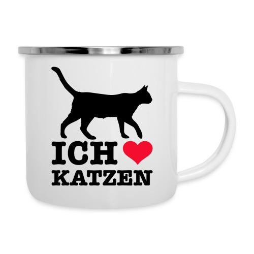 Ich liebe Katzen mit Katzen-Silhouette - Emaille-Tasse