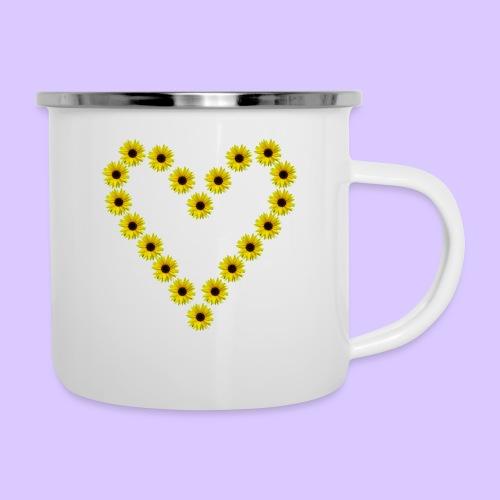 Sonnenblumenherz, Sonnenblumen, Sonnenblume, Herz - Emaille-Tasse
