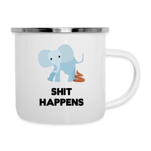 olifant met drol shit happens poep schaamte - Emaille mok