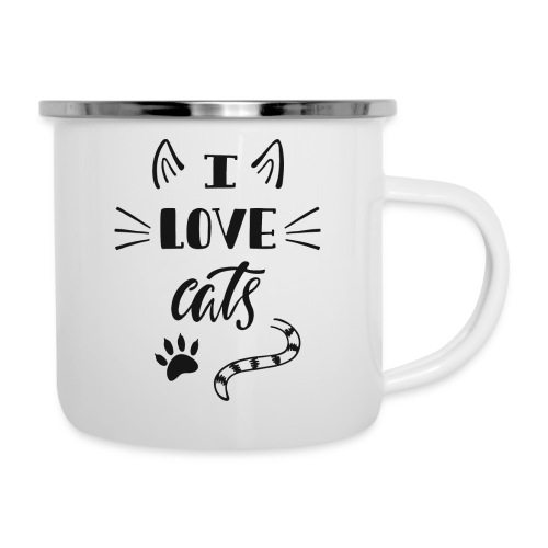 I love cats - Emaille-Tasse