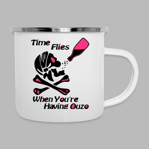 Time Flies Ouzs Shirt - Emaille-Tasse