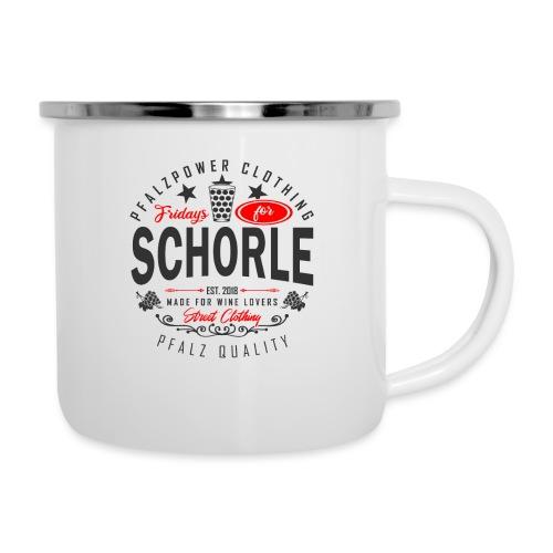 Fridays for Schorle Pfälzer Dubbeglas Parodie - Emaille-Tasse