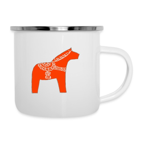 Dala by Pinni Art® rot - Emaille-Tasse