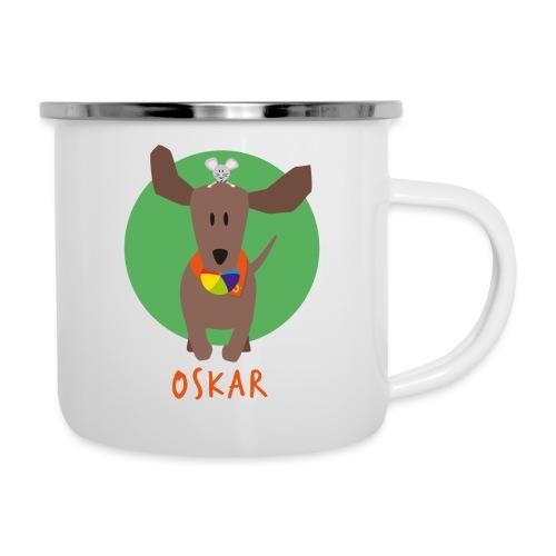 Dackel Oskar mit Maus Fridolin - Emaille-Tasse