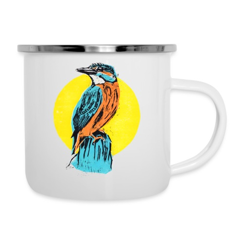 Linocut Kingfisher - Emaille-Tasse