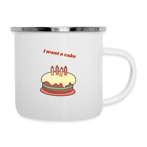 I want a cake - Emaljmugg