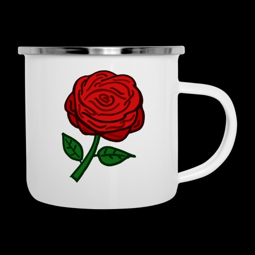 Rote Rose - Emaille-Tasse
