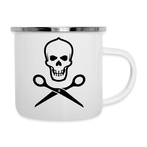 Totenkopf mit Schere - Emaille-Tasse