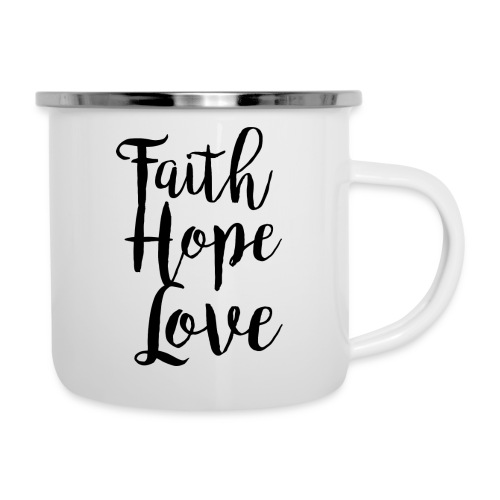 faith hope love - bw - Emaille-Tasse