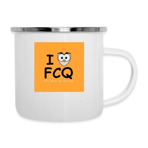 I Love FCQ button orange - Emaille-Tasse