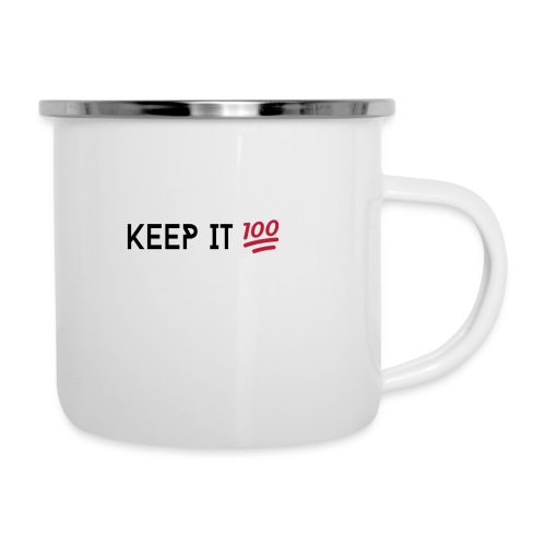 KEEP IT 100 ZWART png - Emaille mok