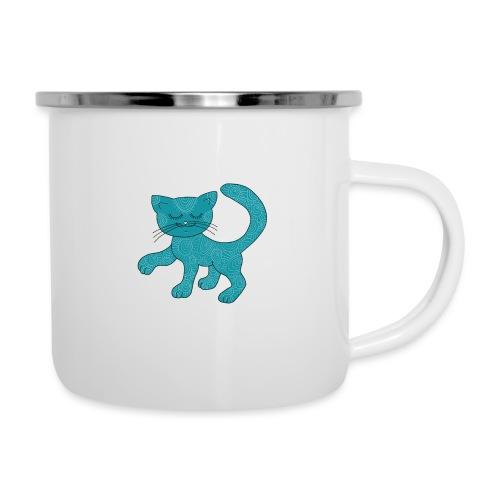 Spirituell anmutende Katze in Türkis mit Muster - Emaille-Tasse