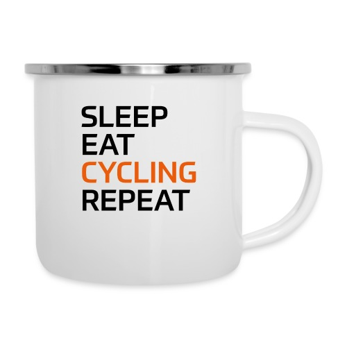Eat Sleep Cycling Repeat - Emaille-Tasse