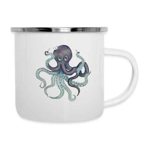 Oktopus mit schwarzem Logo - KlingBim Kinderlieder - Emaille-Tasse