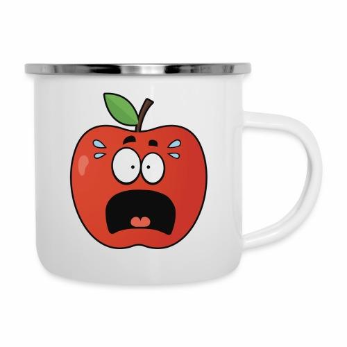 scared apple - Emaille-Tasse