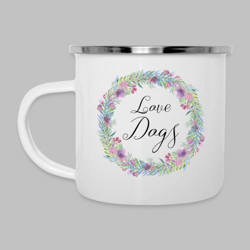 Love Dogs - Blumenkranz - Emaille-Tasse