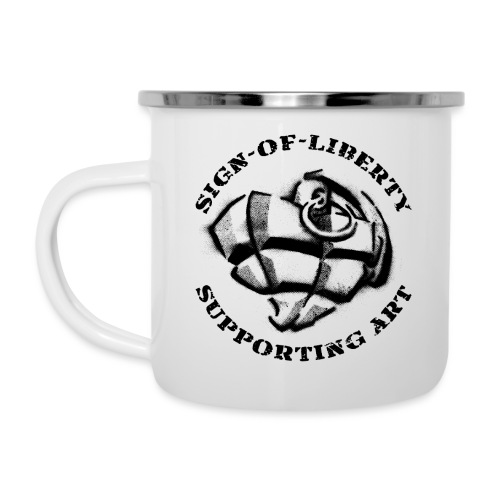 Sign-of-Liberty Supporting Art schwarz - Emaille-Tasse