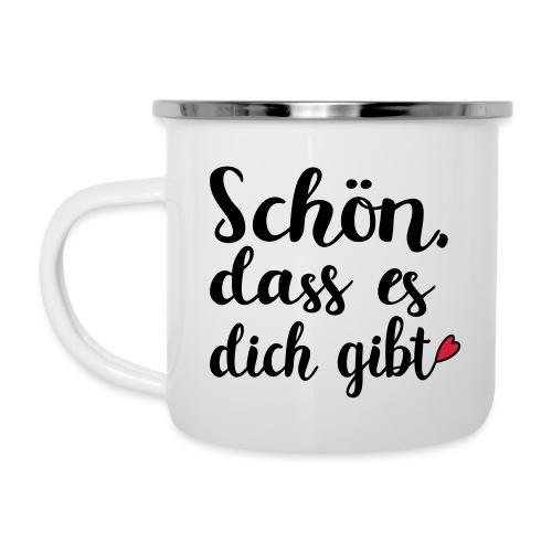 Schön dass es dich gibt Mann Frau Liebe Geschenk - Emaille-Tasse