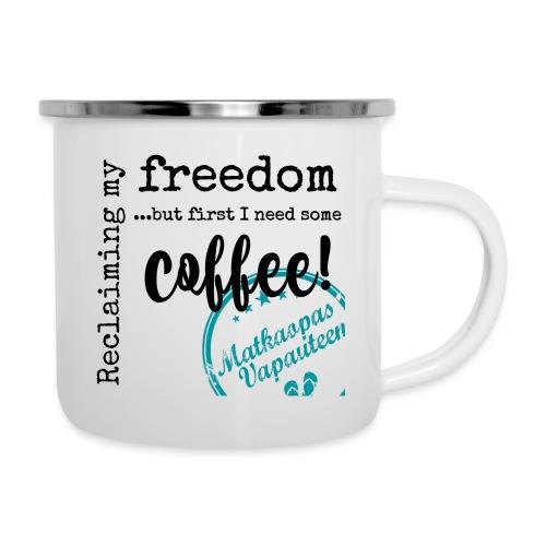 Kahvimuki Matkaopas Vapauteen, turkoosi - Emalimuki
