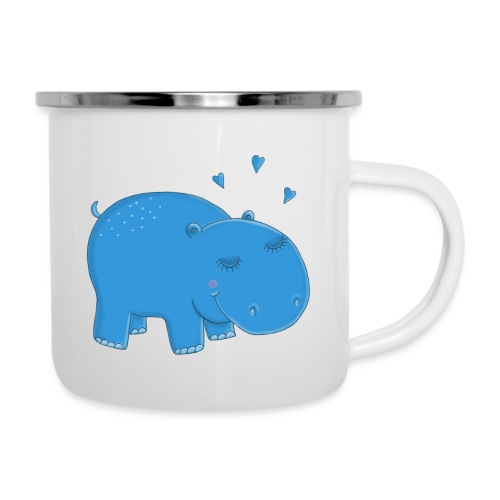 Kleines blaues Nilpferd - Emaille-Tasse