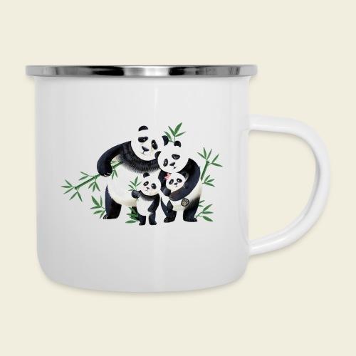 Pandafamilie zwei Kinder - Emaille-Tasse